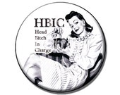 Bottle opener and keychain or pocket mirror - HBIC pinup girl - vintage black and white pinup girl - Head Bitch In Charge