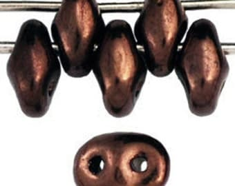 "New - MiniDuo Czech Glass Beads - 2x4mm 2 Hole Beads - 2.5"" Tube - Matte Dark Bronze"