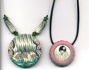 Clearance SALE - 2 Necklaces of polymer clay