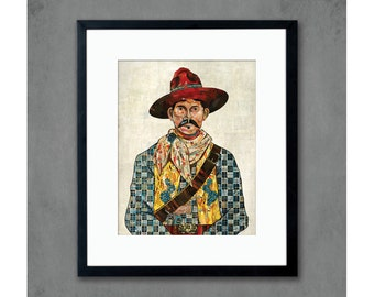 Cowboy with Cactus & Skull Detail Art Print