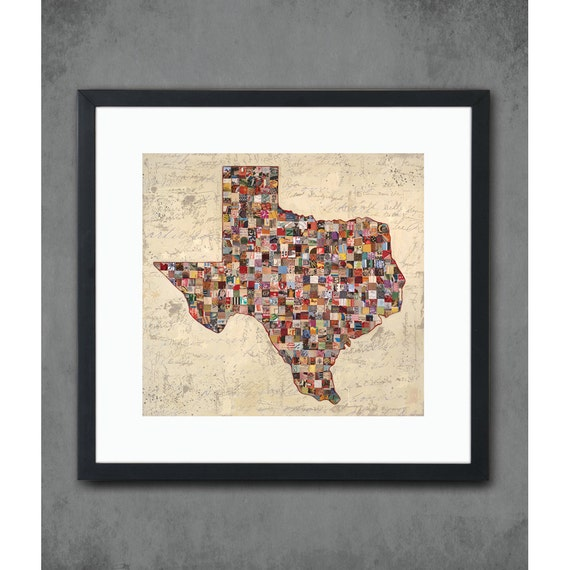 My Texas Map State Silhouette Art Print