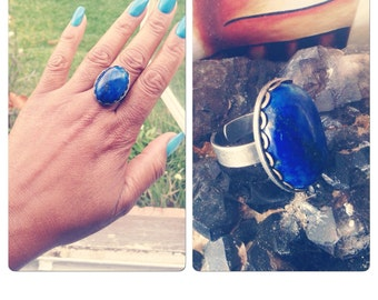 Lapis Lazuli Oval Stone Adjustable brasd Ring Sizes 7-8.5 - oval ring Studio La Touche - Big and Bold Jewelry Ring
