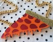 Pizza Acrylic Necklace