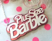 Plus Size Barbie Acrylic Necklace in Pink Mirror and White