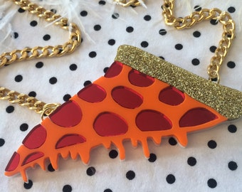 Pizza Acrylic Necklace