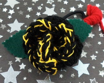 Ace - Crocheted Rose Ponytail Holder or Bracelet - Black and Yellow (SWG-HP-DWAC01)
