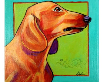 Red Dachshund Print - Colorful Pet Portrait