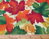 "Fat Quarter Thanksgiving Fabric ""Thanksgiving Prayer"" #3433 Fall Harvest Autumn Leaves Allover - Springs Ind. for Springs Living - OOP"
