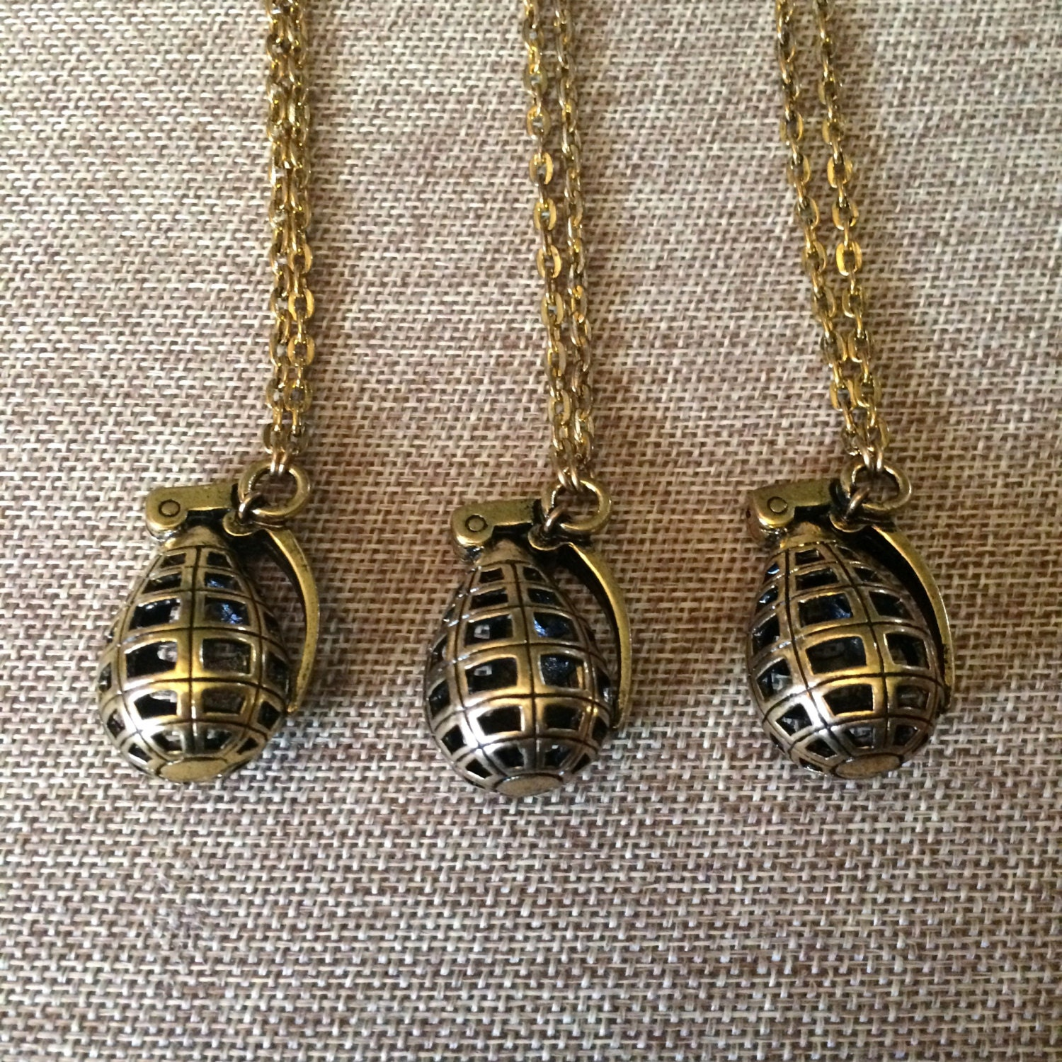grenade necklace in gold hollow grenade by crystalcompass