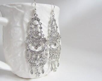 Long rhinestone chandelier earrings, super long earrings, silver rhinestone earrings, ornate earrings, bridal jewelry, wedding earrings