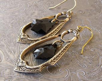 Jet Black Swarovski® Earringns, Antique Gold Drop Earrings, Crystal Drop Earings, Art Deco Drop Earrings, Black Jewelry,