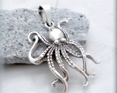 Octopus Necklace, Sterling Silver, Ocean Necklace, Beach Jewelry, Marine Jewelry, Minimalist, Octopus Pendant, Summer Jewelry SN691