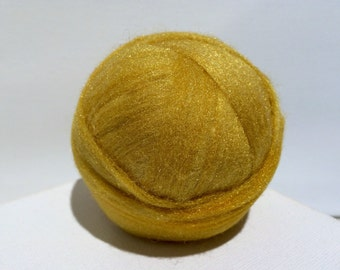 Bright gold Starbright nylon, roving top, Blending, Wet Nuno Needle Felting, Spinning Fiber add in .5 oz, sock yarn vegan fiber, yellow gold