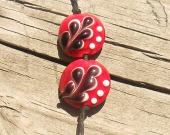 Red White Black Leaf Lentil Pair, Artisan Handmade SRA LETEAM Glassymom