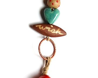 Mushroom / Ceramic Bell Pendant and Bead Set