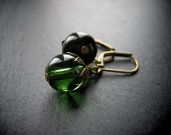 WISH earrings green glass and brass