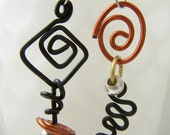 Handmade Aluminum Mix Up earrings in orange, black, silver, gold ITEM NO MU5