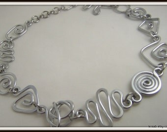 Free Form Geometric Necklace in Silver Aluminum Wire Sterling Silver Alternative, Bold, Item No. N8