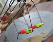 Silver Dangling BOHO Earrings Fun Colorful African Trade Beads Tribal Ethnic wire wrapped long simple earrings