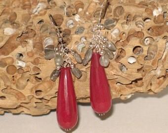 Labradorite and Pink Jade Earrings