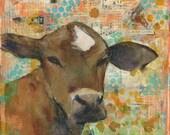 "Original Mixed Media Art | Cow art  | orange brown mint green | 12x12"" Baleful Eyes"