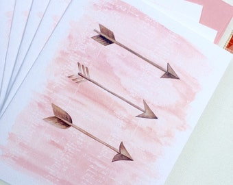 Arrow Notecards, Set of Six in Blush