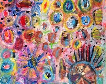 Wheel of life #2, Original 8x8 inch Canvas - 30% OFF