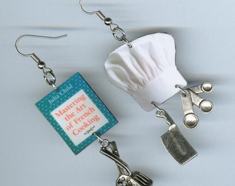 Chef's earrings vintage cookbook chefs hat cleaver measuring spoon charms - chef's gift - cooking jewelry