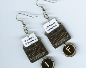 Typewriter Earrings - Faulkner quote - literary author's writer's gift -  librarian student author jewelry - Designs by Annette