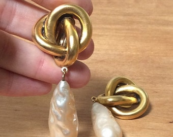 50% Off SHOP CLOSING Beautiful Rare Vintage Donna Karan gold knot earrings with a substantial faux pearl Drop!