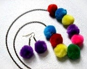 Fiber Jewelry, Rainbow Pom Pom and Brass Beaded Necklace, FREE Shipping U.S.