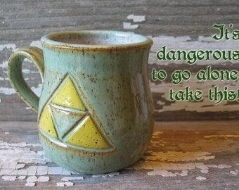 Tri-force Mug - Rounded Handmade Pottery Mug - Zelda Inspired - Legend of Zelda - Link