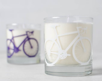 White Bike Candle - Lavender Dreams- Soy candle in reuseable screen printed bicycle rocks glass