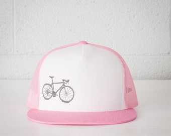 Vital Bicycle - trucker cap, Light Grey on Pink