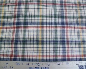 Blue Green Red Yellow White Plaid Upholstery Fabric BTY From Calico Corners
