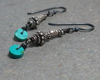Turquoise Earrings Sterling Silver Earrings Tribal Earrings Long Earrings Oxidized Earrings