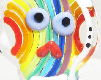 Rainbow Sugar Skull--Handmade Lampwork Glass Bead