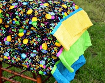 HAPPY BIRTHDAY, Standard Pillowcase, Yellow, Green or Turquoise Cuff