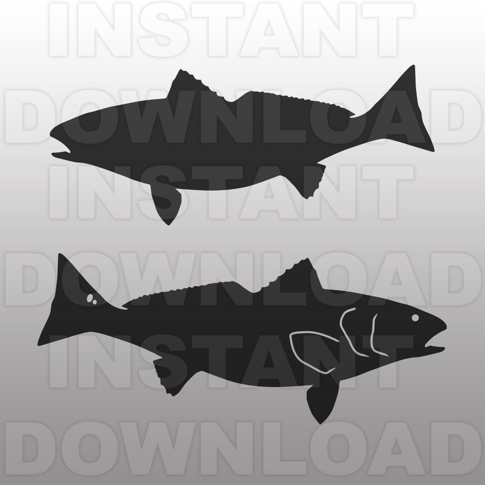 Fishing Svg Fileredfish Svg File Cutting Template Vector Clip