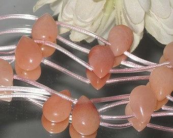 4 Soft Peach Aventurine Teardrop Briolette 11x16mm- Bastet's Beads
