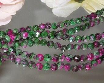 "Ruby Zoisite Gemstone Facet 4mm Rounds 7.5"" Strand- Bastet's Beads-"