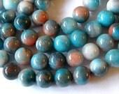 8mm Jade Beads,  Blue and Peach Jade Beads. Full Strand   50 Beads