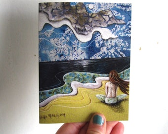 She looked past a sea of her own thoughts,  illustrated blank card, ocean sea waves, meditate, glossy finish