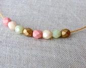 pastel beads czech glass chocker necklace japanese cord gold sterling silver