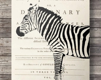 Zebra dictionary print -  Vintage dictionary page zebra print - Printable wall art  -  Instant download