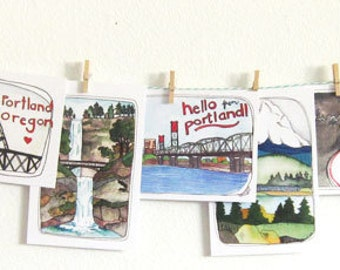 Postcards - Set of Postcards - Portland Postcards - Set of 13 Portland Postcards - Portland Oregon - Illustrated Postcards