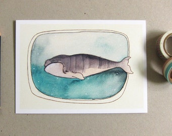 Whale Card - Blank Greeting Card - Marine Life - Illustrated Card - Whale Illustration - Whale Card