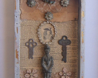 Assemblage Art - SHADOW BOX Recycle 3D Salvage Wall Pc - 1269
