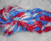 Red-White-Blue 2 ply Art Yarn 22 Super Bulky yards 3.2 oz