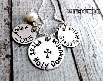 First Holy Communion necklace-personalized necklace-religious necklace-confirmation necklace-communion-with discs-first communion-gift